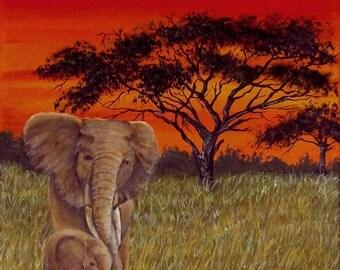 Sunset over the Savannah, Acrylic paint