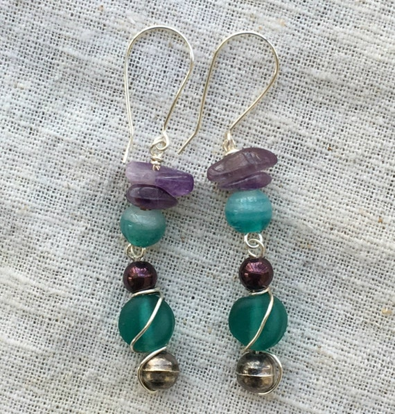 Amethyst earrings, purple earrings, aqua earrings, gemstone earrings, long boho earrings, blue green earrings, amethyst jewelry