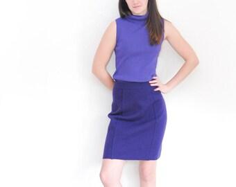 purple knit skirt   wool vintage pencil skirt   sweater skirt   winter skirt   size small   size medium   knee length skirt