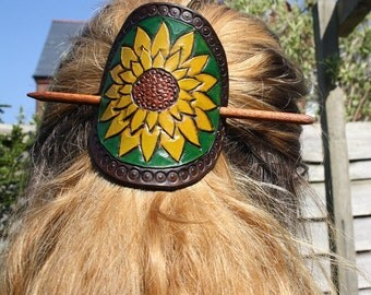 Hand tooled leather sunflower hair barrette, yellow, brown and green