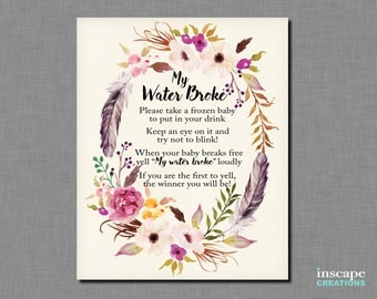 Boho My Water Broke Game Printable Bohemian Baby Shower Game Flowers  Feathers Floral Rustic Country Cute