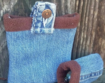Denim stash bag set, 420 friendly padded pouch set, blue jean pipe pouch and bag set