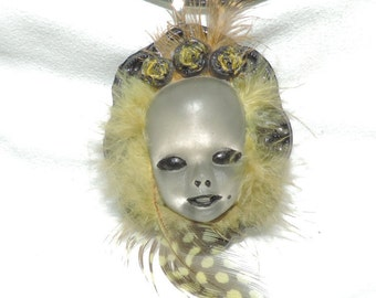 Creepy resin doll head necklace