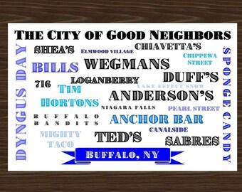 Buffalo NY Artwork, Buffalo NY Poster, Buffalo New York Wall Art, Buffalo Decor