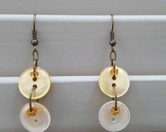 Antique Shell Button Dangle Earrings