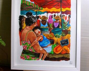 Island market, original painting