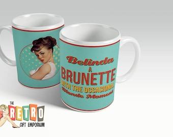 Brunette Coffee Mug, Retro Custom Mug, pinup coffee mug, Custom Brunette, Personalised Mug