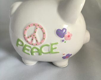 Peace and Love Personalized Piggy Bank