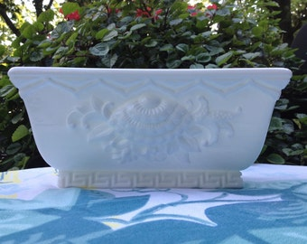 Vintage Milk Glass Planter, Vintage White Planter