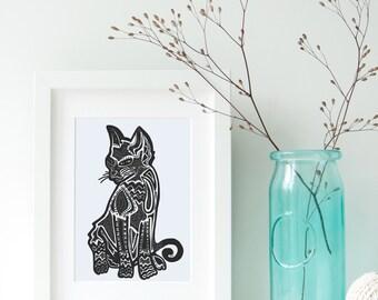 Black Cat Art - Cat Zentangle Print- Cat Printable - Custom Pet Art - Abstract Black Cat- Pet Portrait - Cat Portrait - Custom Cat Portrait