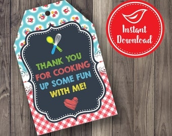 Cooking Party Favor Tags - Thank You Party Favor Tags - Chalkboard Vintage - Red Gingham - Printable Digital File - INSTANT DOWNLOAD