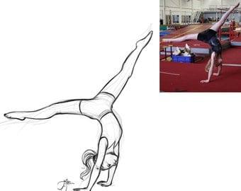 Personalized gymnastics portrait sketch (custom, digital file).