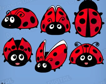 Hand-Drawn Ladybugs - Digital Clipart/Graphic