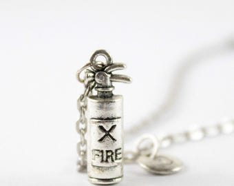 EXTINGUISHER charm necklace, silver firefigthers necklace, initial necklace, personalized necklace, initial jewelry, personalized jewelry