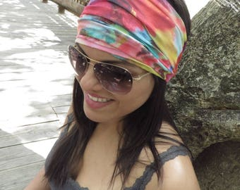 Tie Dye Headband, Hippie Wide Headband, Running Headband, Yoga Headband, Fitness Headband, Boho Headband, Bohemian Turban, Women Headband