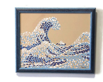 Wave painting Japanese wave art Sea wave painting Blue waves art Seascape Ocean blue wall art Aqua painting Straightedgism style