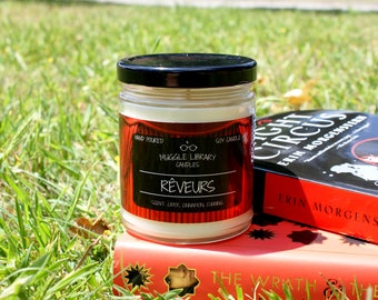 Rêveurs - inspired by The Night Circus - hand poured soy candle - 9oz glass jar