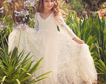 Lace Flower Girl Dress, Ivory Lace Dress, Trumpet Sleeves Ivory Dress, Birthday Lace Dress, Wedding Flower Girl Dress, Christening Dress