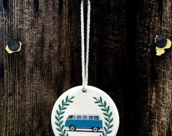 Round Hippy Van, VW Microbus, Unique Christmas Ornaments, White Ceramic Christmas Ornaments, VW, VW Bus, Hippy Bus Christmas Ornament