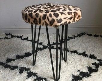Goar Hair Stool with Leopard Print Design