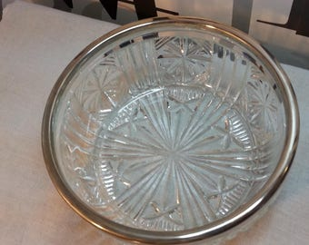 Vintage Crystal Serving Bowl with Silver Rim        FREE SHIPPING