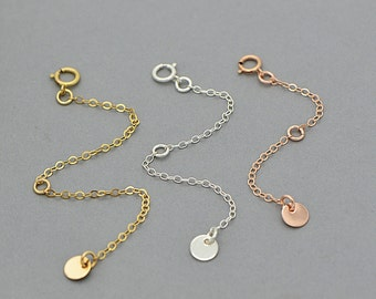 Extension Chain For Necklace, Extender Chain, 14k Gold Filled, Rose Gold Filled, Sterling Silver
