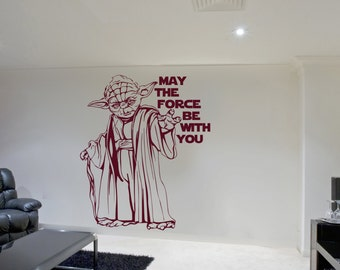 Yoda Wall Sticker Star Wars Vinyl May The Force Be With You Decal  Stencil Gift