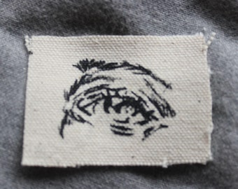 Little Eyes screen printed patch, handmade patch, stitch on, red and black on canvas, silkscreen patch