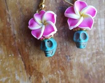 Day of the dead, mardi gras, Dia de Los Muertos earrings pastel grunge
