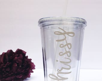 Personalized Tumbler With Straw | Custom Name Tumbler | Bridesmaid | Wedding | Office Gift | Birthday Gift | Sweet 16 Favors