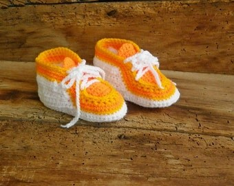 Baby sport shoes, orange sneakers, a newborn boy booties, knitted baby clothes, newborn girl booties, street shoes