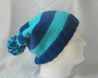 Hand Knitted Striped Slouchy Beanie