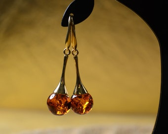 gold plated baltic amber and fine stering silver drop earrings