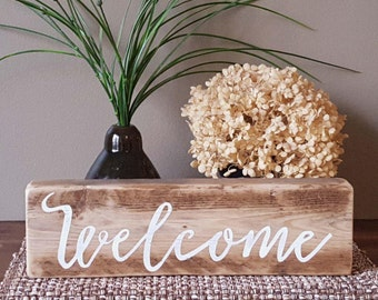 Welcome wooden block sign - 12""