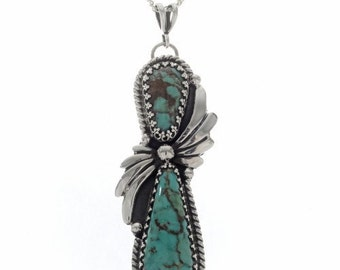 Native American Turquoise Silver Fan Pendant With Chain