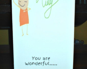 Hand Made Greeting or Just Because Card with Original Artwork - Mom and Kid Art Cards!