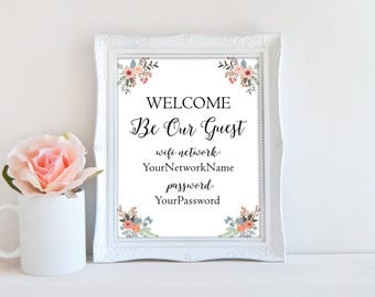 Custom Welcome be our guest wifi sign, wifi printable password, home wall decor, guest room wifi sign, reception wifi print, office print
