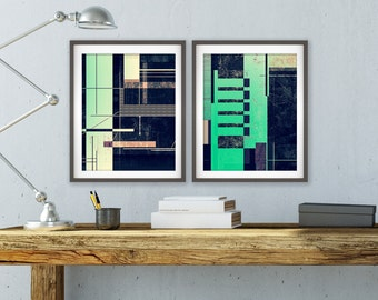 Instant Download Art, Green, Black, Abstract Wall Decor, Geometric Abstract, Industrial Chic, Wall Art, Modern Art, Wall Print