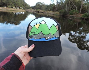 Rainbow Trout inspired custom hand painted hat