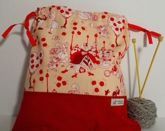 Alice in Wonderland/ Queen of Hearts bag,  Knitting Bag, Crochet Bag, Yarn Bag,  Project Bag, Sock knitting bag