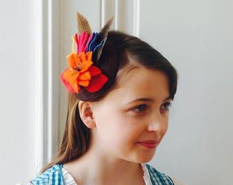 Fascinator, Hair Accessory,Flower and Pheasant Feather Fascinator ,Christmas Fascinator,Austrian Headwear,Country Headpiece - Iris,Orange