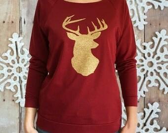 DEER HEAD shirt, womens Christmas shirt, glitter deer shirt, Christmas shirt for women, women deer head shirt