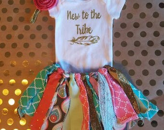 New to the TRIBE!! Feather! Tribal! Perfect for the newest member to the family! Great baby shower gift!