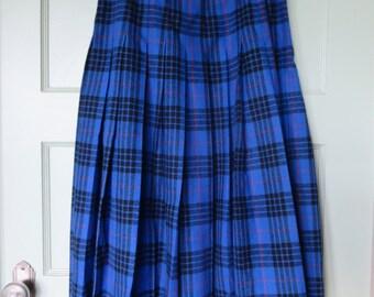 Wool Skirt, Vintage Skirt, Vintage, Blue, Pendleton, Skirt, Plaid, Wool, Pendleton Skirt, Tartan, Plaid Wool Skirt, Cobalt Blue Skirt