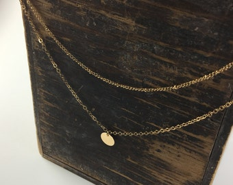 Minimalist Coin Disc Necklace and Satellite Chain Combo - Layered Necklace Set - Dainty Layered Necklace