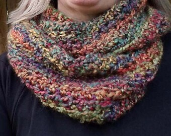 Outlander Inspired Cowl, Chunky Crocheted Infinity Scarf, Multi-colored, Crochet