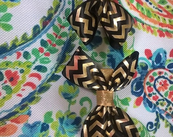 Black and Gold Bows on Clips