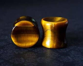 "Organic Tigers Eye Concave Stone Plugs (6G - 1/2"")"