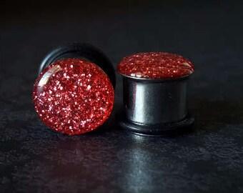 """Pink Glitter Single Flare Plugs (8G - 1/2"""")"""