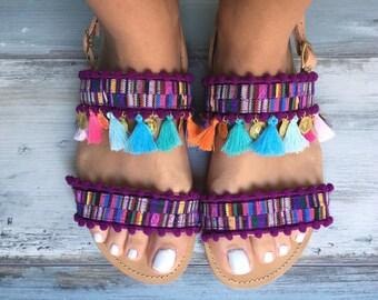 "Bohemian sandals ""Bougainvillea"" , Greek leather sandals"